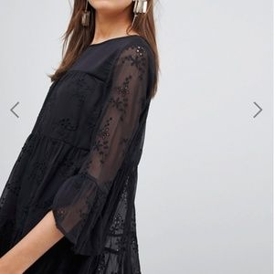 ASOS New Look Black Embroidered Smock Dress